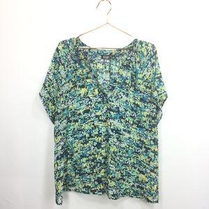 A.N.A. 1X Shirt Multi-color Semi Sheer V-Neck